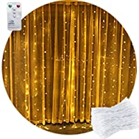 Remote Curtain Light 2M x 2M Warm White Curtain Fairy Lights Waterfall Window Light Icicle Fairy Lights,204 LED, DC31V Safety Voltage