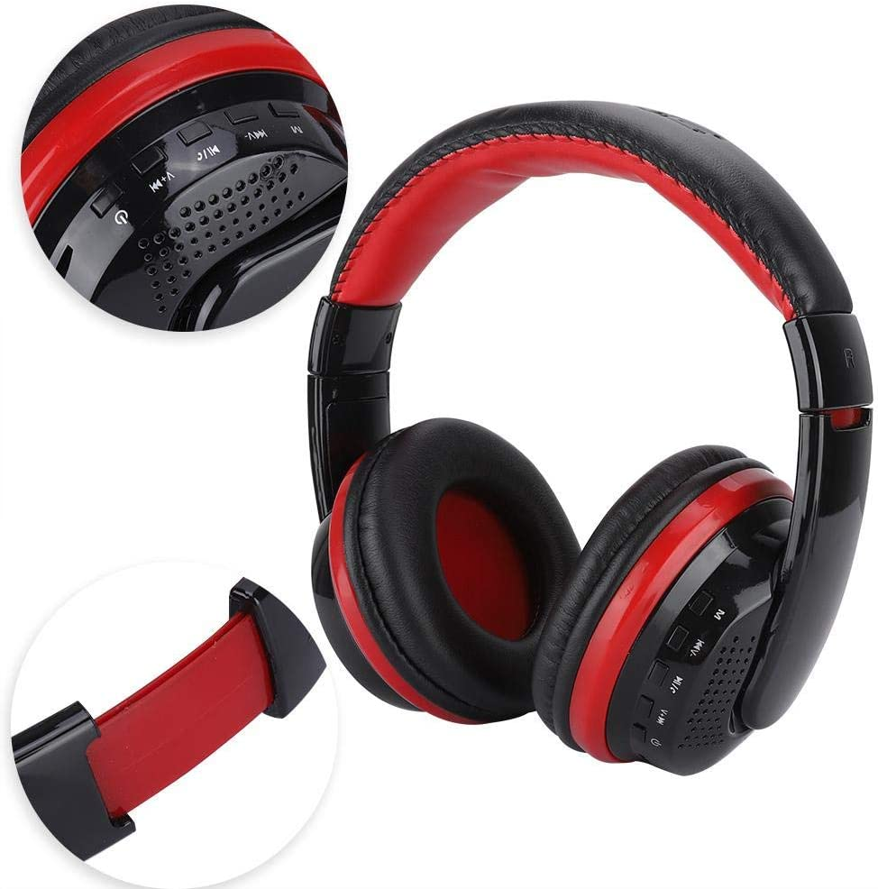 Tangxi Desktop Computer Headphone, MX666 Bluetooth On-Ear Headphone with Microphone, Black and Red Noise Reduction Adjustable Office Headset Headphone