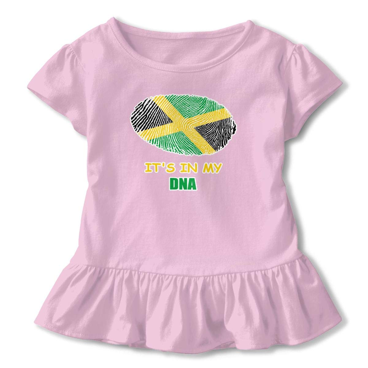 Jamaican Its in My DNA Toddler Baby Girl Ruffle Short Sleeve T-Shirt Comfortable Cotton T Shirts