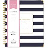 """Day Designer for Blue Sky 2017-2018 Academic Year Weekly & Monthly Planner, Twin-Wire Bound, 8"""" x 10"""", Navy Stripe Hardcover"""