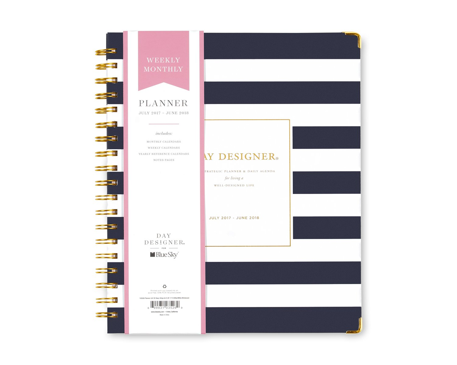 Day Designer for Blue Sky 2017-2018 Academic Year Weekly & Monthly Planner, Twin-Wire Bound, 8'' x 10'', Navy Stripe Hardcover