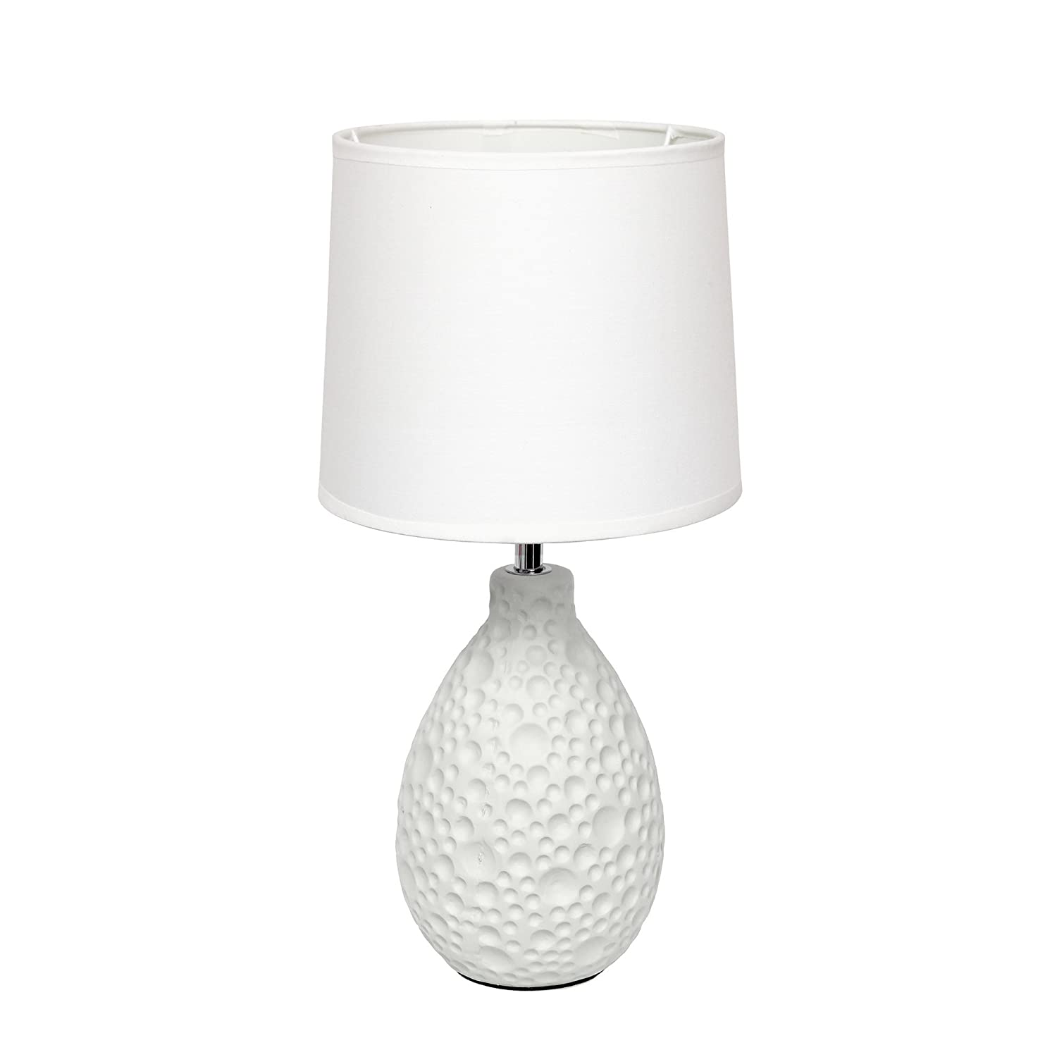 "Simple Designs Home LT2003-WHT Texturized Stucco Ceramic Oval Table Lamp, 7.09"" x 7.09"" x 14.17"", White"