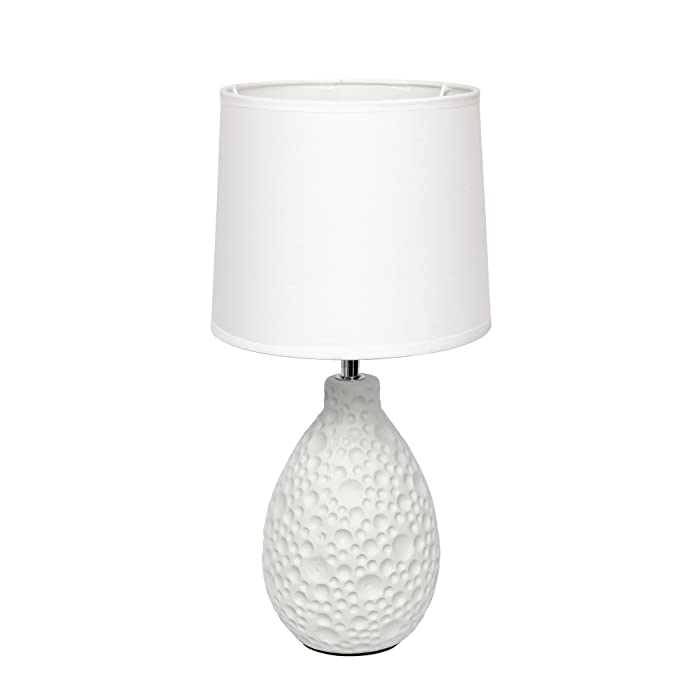 """Simple Designs Home LT2003-WHT Texturized Stucco Ceramic Oval Table Lamp, 7.09"""" x 7.09"""" x 14.17"""", White"""