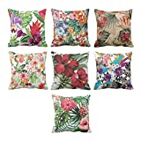 YaYa cafe Printed Antique Beautiful Floral Flower throw cushions pillow covers 24x24 inches for Home decor Sofa Chair bedroom living Room - Set of 7