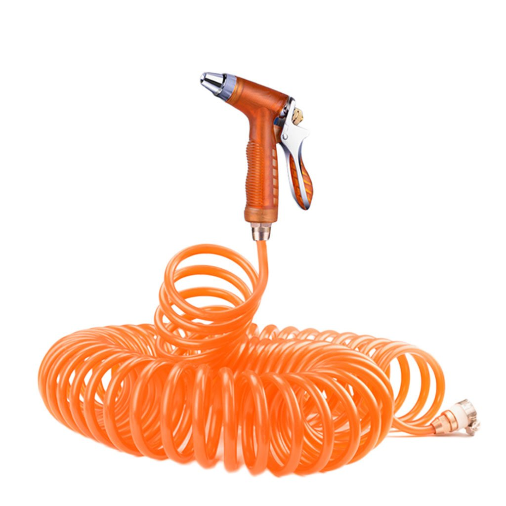 Roscloud@ Car Wash Gun For Garden Hose High-pressure Car Wash Water Gun Kit Home Set Car Brush Car Tool Car Artifact Watering (Color : Orange, Size : 25M)