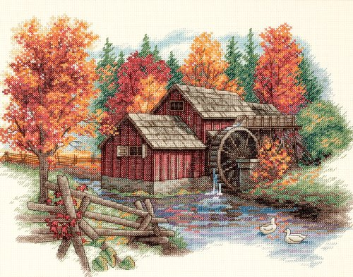 - Dimensions 'Glory of Autumn' Seasonal Counted Cross Stitch Kit, 14 Count Ivory Aida, 14