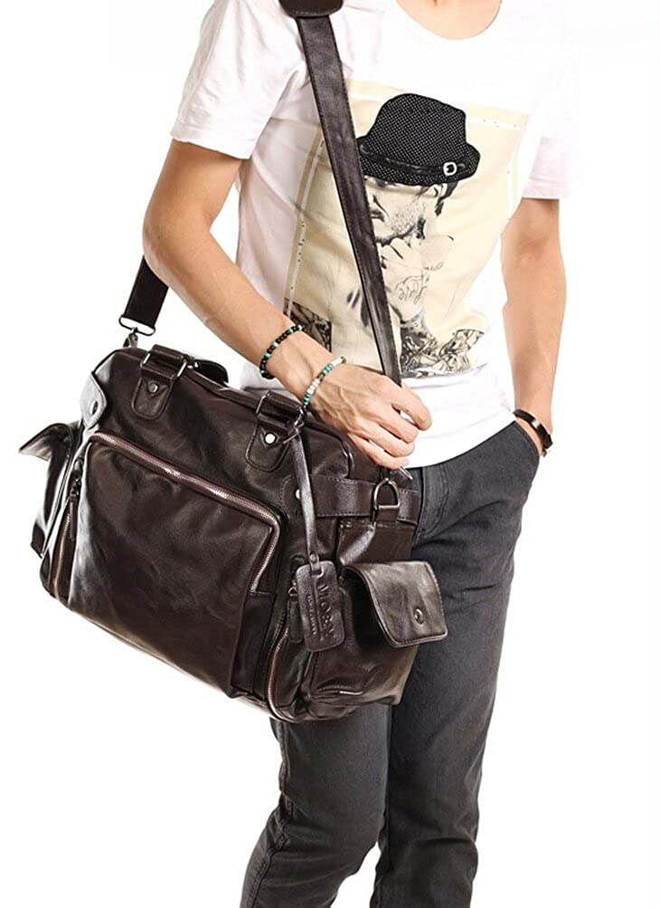 Gumstyle Mens Fashion Soft Leather Messenger Shoulder Bag Traveling Handbag Luggage Duffel Bag