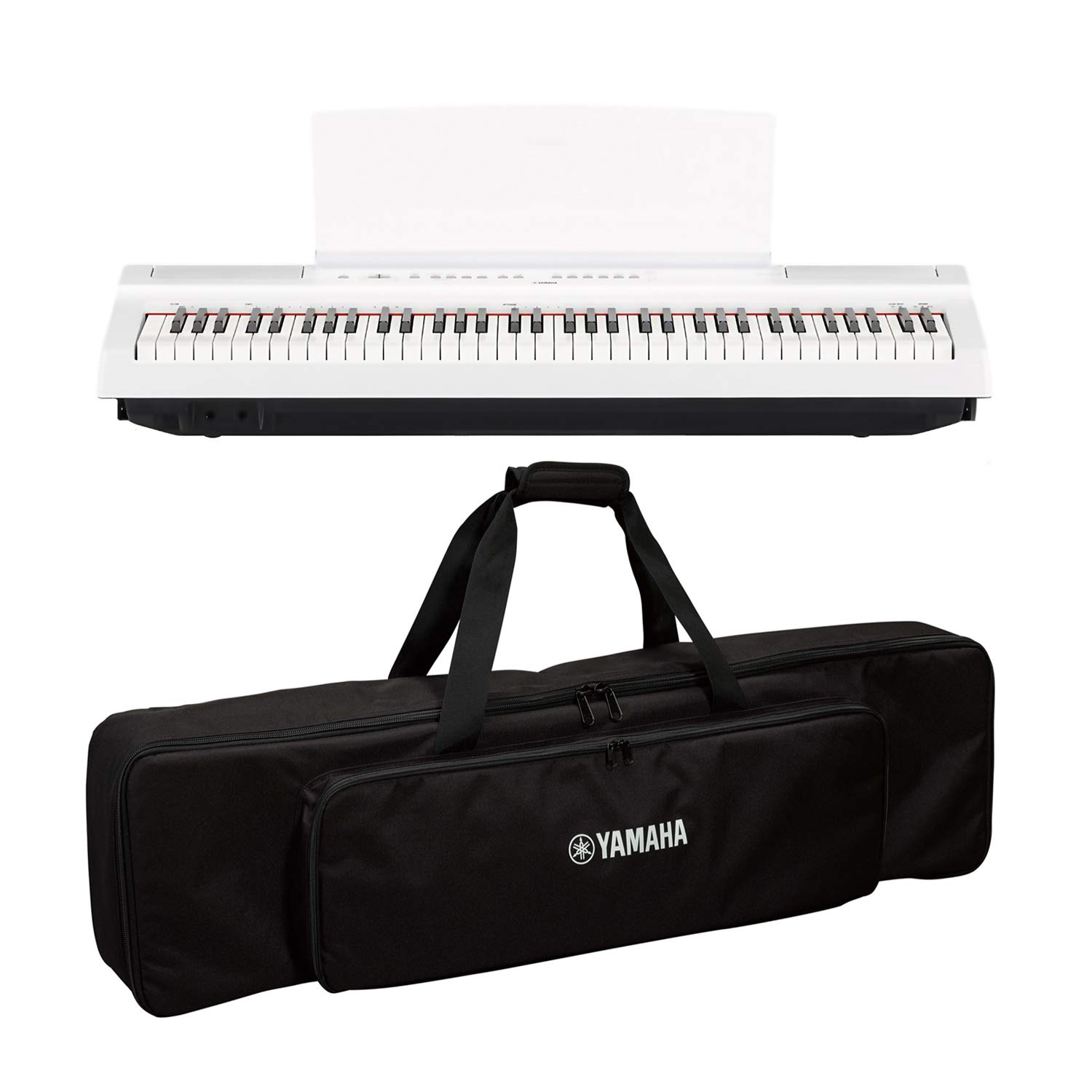 Yamaha P121 73-Key Weighted Action Digital Piano - White with SC-KB750 Soft Case for P-121 by Yamaha Bundle