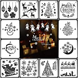 """Christmas Stencils Templates 12 Pack Merry Chrismas, Stanta Claus, Snowflakes, Balls, Trees, Reindeers, Gift Boxes Xmas Holiday Craft Party Decorations 5""""x5"""" (12 Pack Christmas Sencils)"""