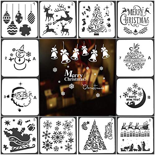 (Christmas Stencils Templates 12 Pack Merry Chrismas, Stanta Claus, Snowflakes, Balls, Trees, Reindeers, Gift Boxes Xmas Holiday Craft Party Decorations 5