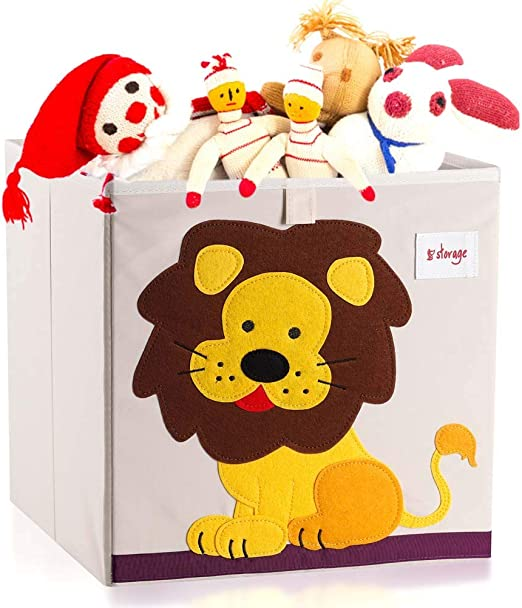 Dog Bearcubs Foldable Kids Toy Storage Box Cube Nursery Organizer Childrens Animal Design Toy Chest for Easy Clean Up Time Sturdy Stackable Toy Chests /& Storage,13in x 13in x 13in with Lid