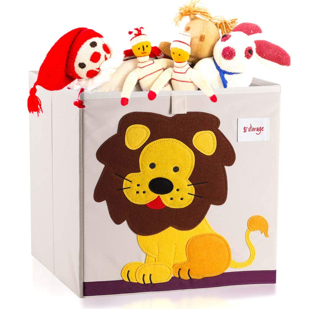 Vmotor Foldable Animal Canvas Storage Toy Box/Bin/Cube/Chest/Basket/Organizer for Kids, 13 inch(Lion) by Vmotor
