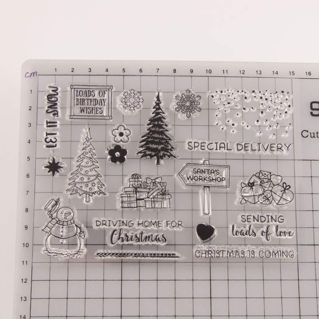 lhiverfr transparente silicona estampa de /árbol de Navidad Scrapbook DIY Embossed Diary /álbum D/écor