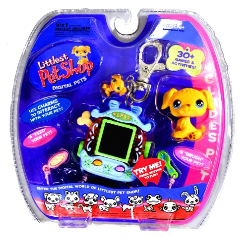 Hasbro Year 2006 Littlest Pet Shop Digital Pets Series Virtual Game - Golden Retriever Puppy Digital Game with Charms to Interact with Your Pet,