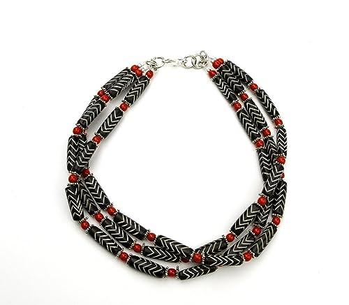Amazon Com Three Strand Black And White Carved Bone Bead Necklace Handmade