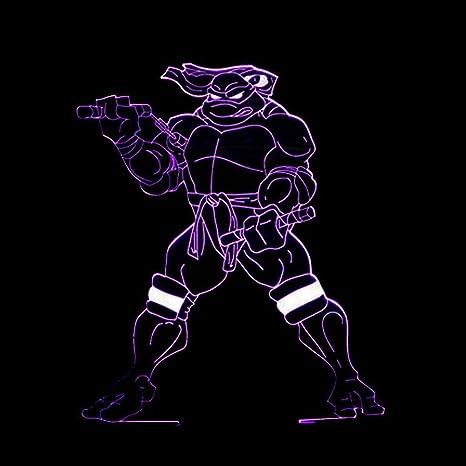 Axiba 3D Luces de la noche, Ninja tortuga 3D Luz colorida de ...
