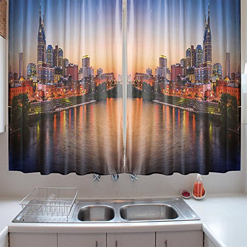 oFloral Kitchen Curtains United States Cumberland River Multicolor Window Treatments for Kitchen Dining Room Curtains 2 Panels Set 55 W X 39 L Inches
