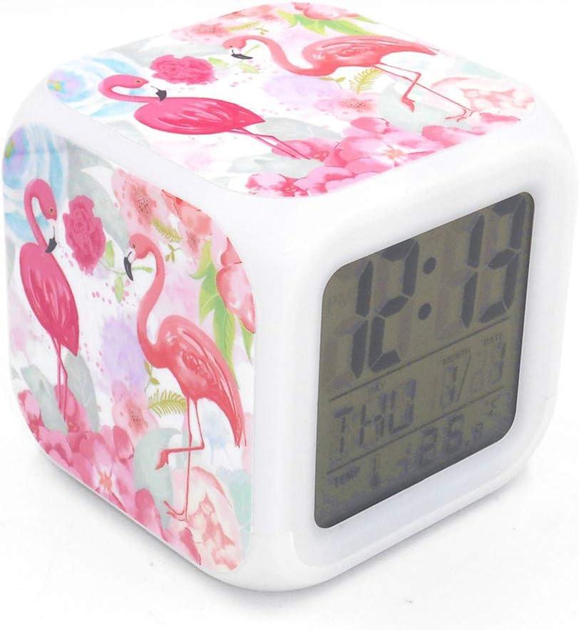 Boyan New Flamingo Birds Led Alarm Clock Pink Creative Desk Table Clock Multipurpose Calendar Snooze Glowing Led Digital Alarm Clock for Unisex Adults Teenagers Kids Toy Gift