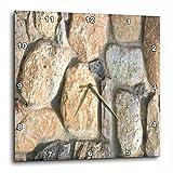 3dRose TDSwhite – Miscellaneous Photography - Stone Wall Fireplace Masonry - 10x10 Wall Clock (dpp_285258_1)