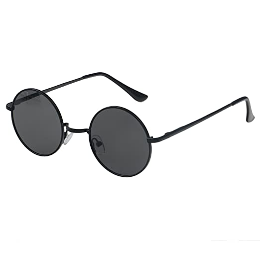 3d734cefc3 Image Unavailable. Image not available for. Color  Simvey Retro Vintage  Lennon Style Round Sunglasses Mirrored lenses Metal Frame 50mm