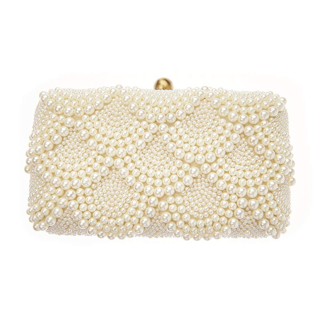 From St Xavier Solange Pearl Beaded Box Clutch Bridal Bag, Ivory