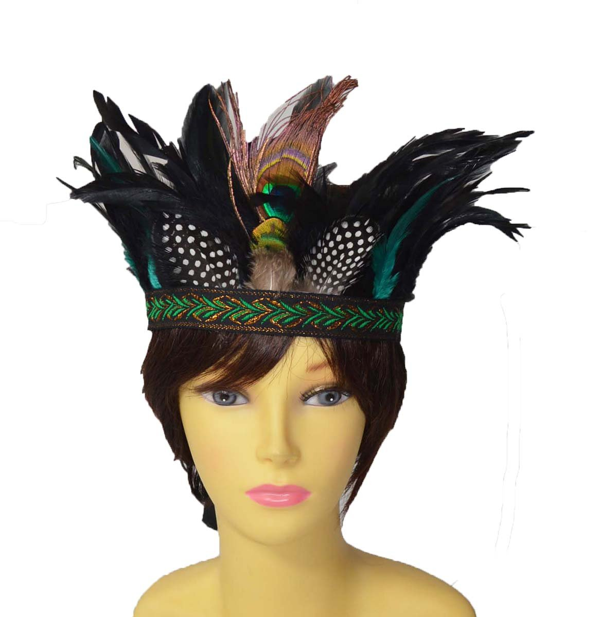 Cool New Hand made tie back fashion Feather headdress KGM