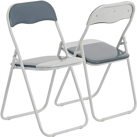 Chaise pliante rembourrée pour le bureau gris clairblanc lot de 6