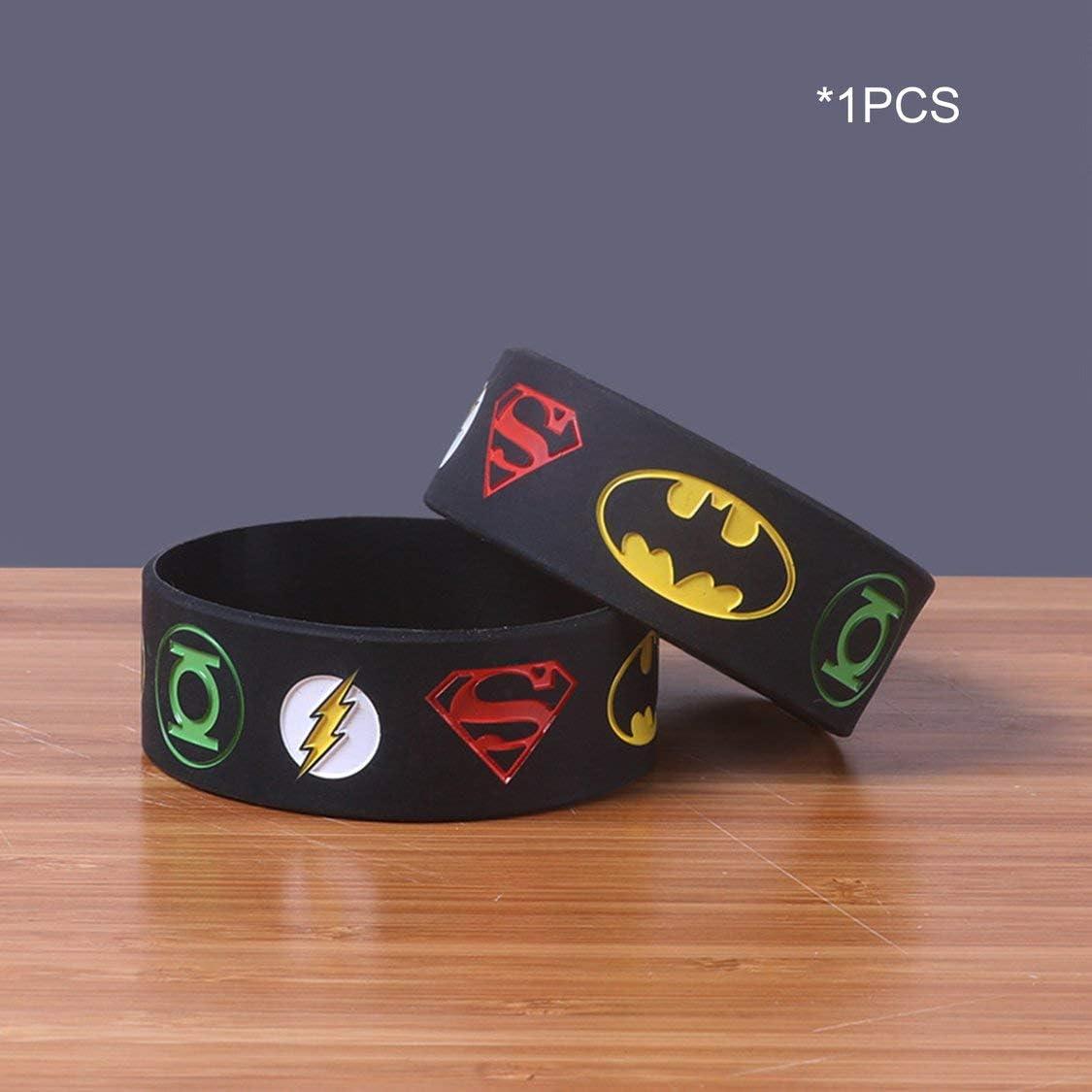 FancysweetyFR Superhero Bracelets Batman Superman Superheroes Logos Silicone Bracelets Bracelet Bracelet Sport Cadeau D/écoration