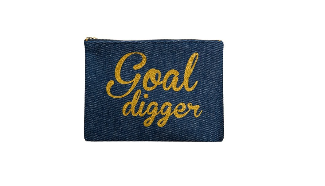 THE ARTSY TRAIL Goal Digger Pouch, Glitter Gold