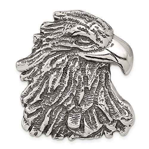 Solid 925 Sterling Silver Antiqued-Style Eagle Head Pendant (33mm x 39mm)