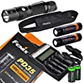 Fenix PD35 TAC Edition 1000 Lumen CREE XP-L LED Tactical Flashlight, Fenix ARE-C2 four bays Li-ion/ Ni-MH advanced universal home/car smart battery charger, Two Fenix 18650 ARB-L2S 3400mAh rechargeable batteries with Two EdisonBright CR123A Lithium Batter