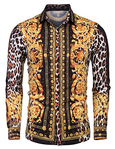 COOFANDY Men's Floral Dress Shirt Slim Fit Casual Fashion Luxury Printed Shirt Long Sleeve Button Down Shirts (Brown(Leopard Pattern), LLL) ()