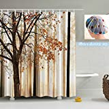 Fall Trees Maple Leaf Shower Curtain By ZSZT, Polyester Fabric Pattern Bathroom Curtain with 12 Hooks ( 180 X 180 cm 71 X 71 inch ) Have a gift shower cap