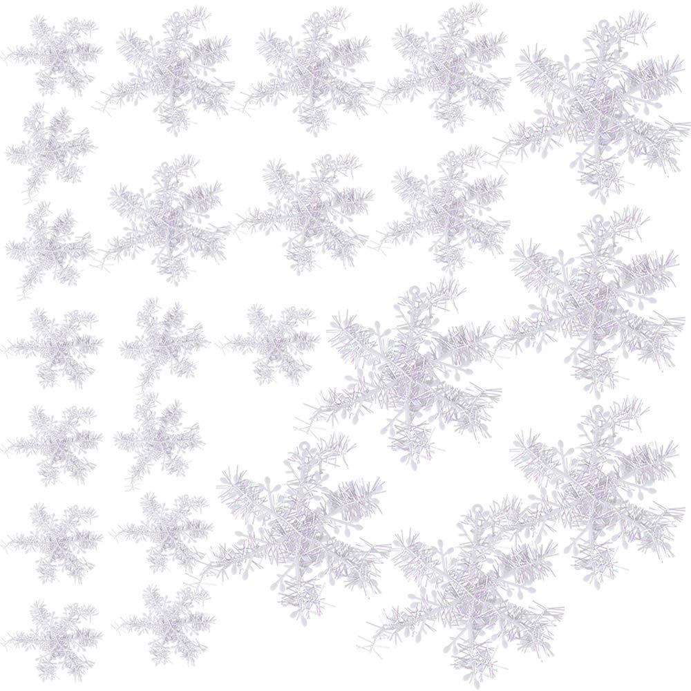 BUONDAC 6cm+10cm+19cm 24 pz Fiocchi di Neve Bianco Decorazione dell'Albero di Natale Plastica Appendere Fai da Te Ornamenti Festa Domestica