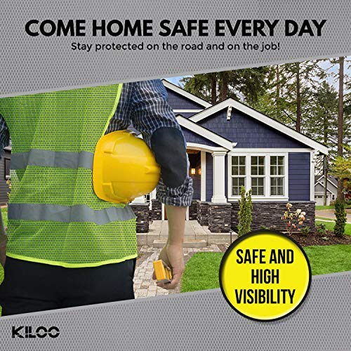 Reflective Safety Vests - Pack of 12 | High Visibility Neon Yellow Mesh | Fits Men and Women | For Construction and Surveyor Work, Security, Emergency, Event Volunteers, Traffic and Parking Workers by Kiloo (Image #2)