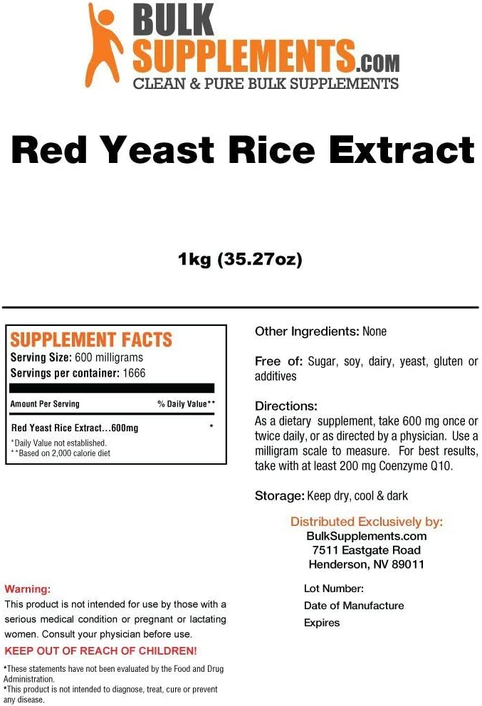 BulkSupplements Red Yeast Rice Extract Powder 1 Kilogram