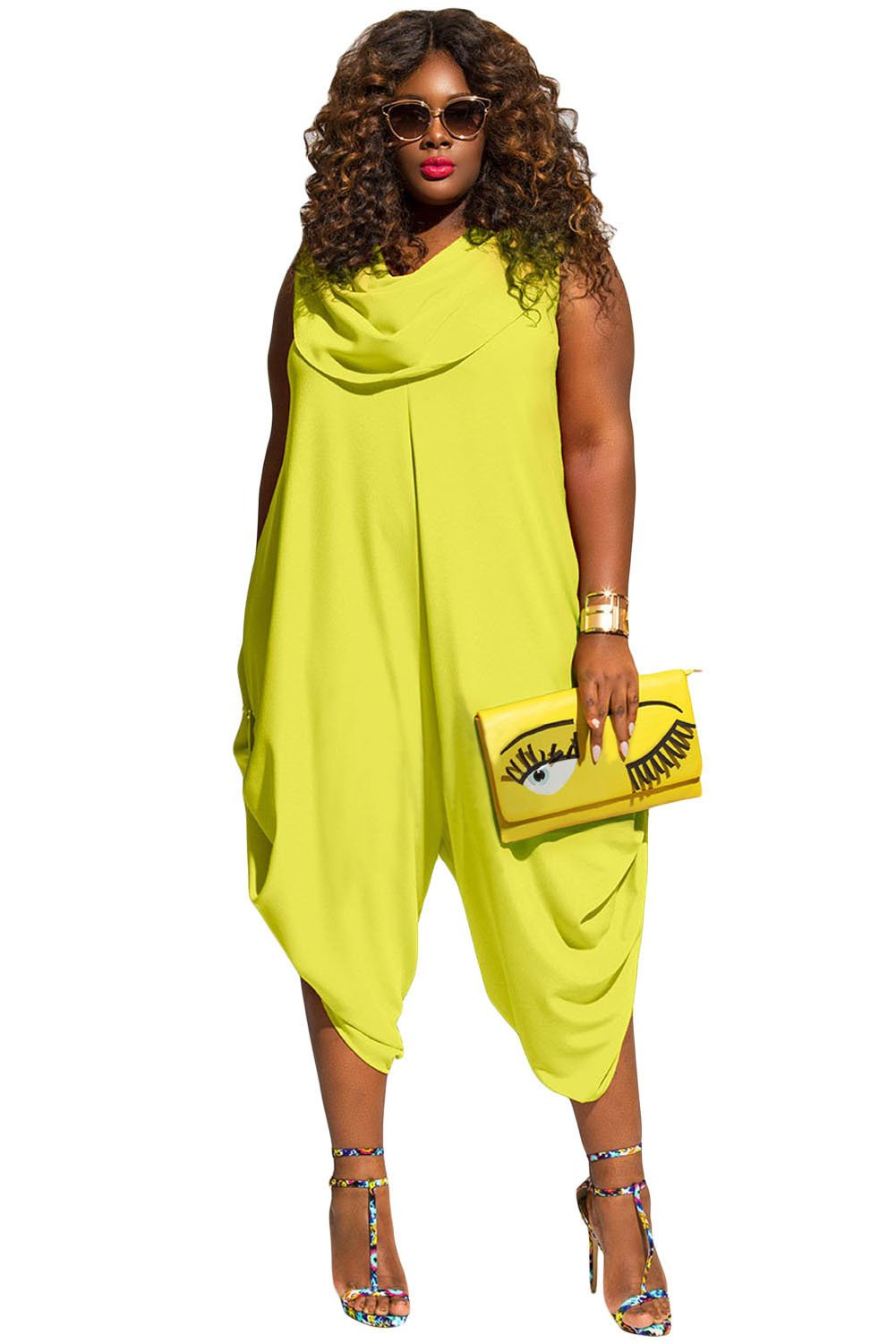 New Ladies Plus Size Yellow Loose Fitted Harem Romper Jumpsuit Playsuit Bodysuit Romper Club Wear Clothing Size XXXL UK 16 EU 44