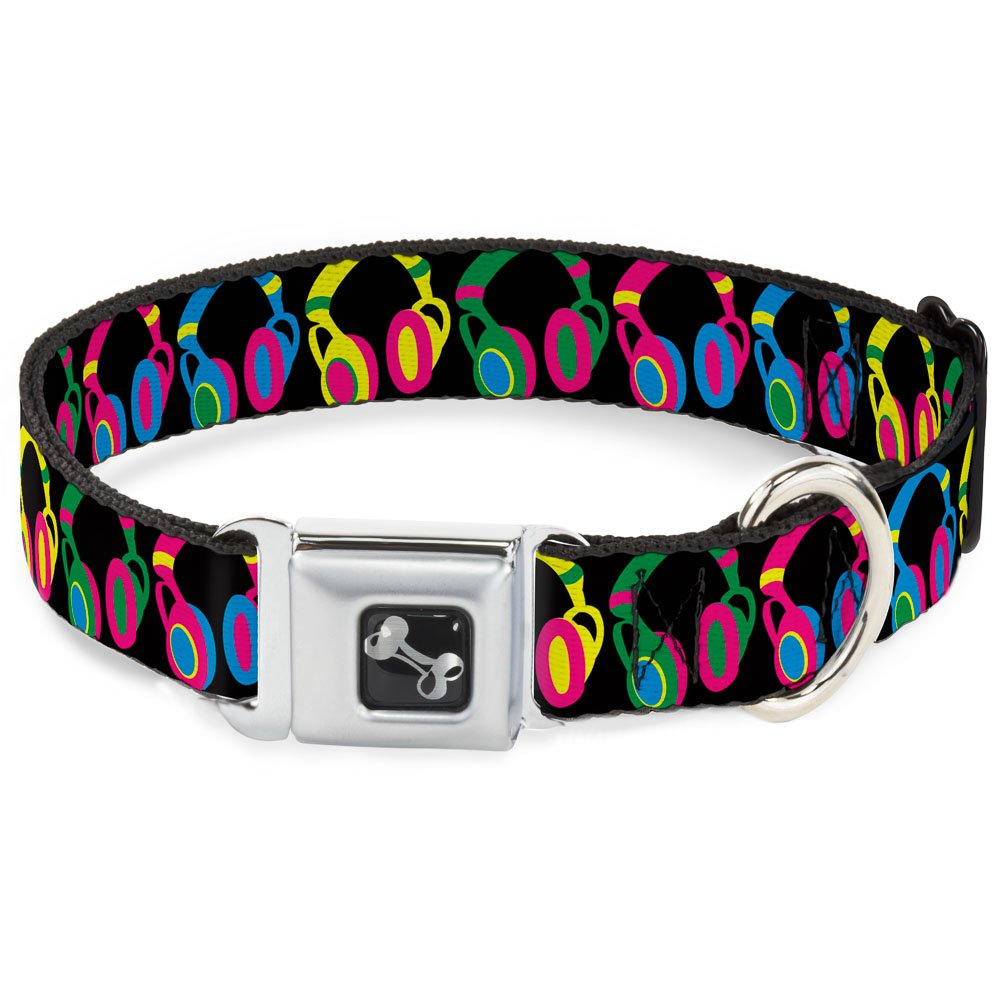 Buckle-Down Headphones Black Neon Dog Collar Bone, Wide Medium 16-23