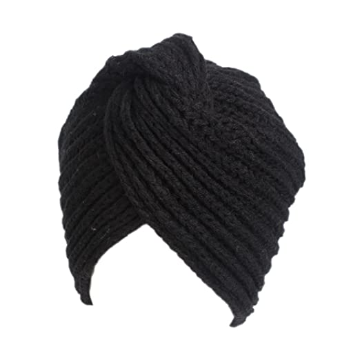 Vertily Retro Winter Knitting Ruffle Turban Brim Pile Beanie Women  Headscarf Hat (Black) fc95c4174a9a