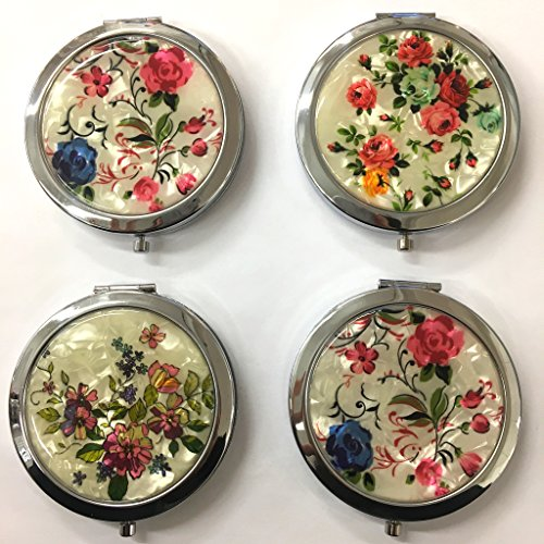 4 X Makeup Cosmetic Compact Mirror ompact Mirror, Custom Bridesmaid Mirror, Bridesmaid Gift Mirror, Gift Ideas for Bridesmaids.Wedding shower Normal & Magnifying Portable