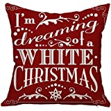 HandyCase Christmas Gift Happy New Year Merry Christmas Letters Linen Cushion Cover Fabric Pillow Case Color Cushion Decorative for Couch Sofa Pillowcase 18 x 18 Inches - Pattern 16
