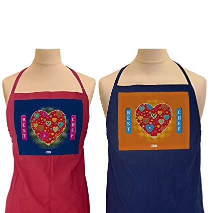 Indigifts Valentine Day Best Chef Quote Multi Apron 26x30 Inches Set Of 2