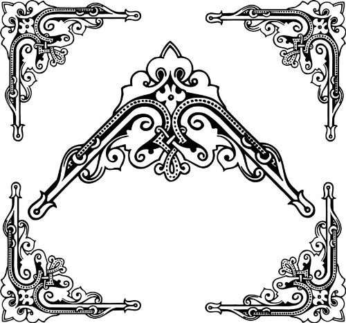 4 Corner Images - B&W Scroll & Fleur-des-Lis - Vinyl Stained Glass Film, Static Cling Window Decal