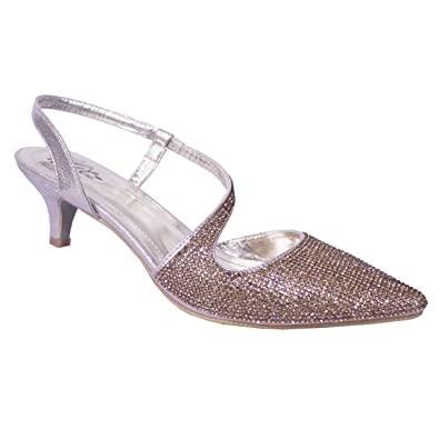 46e1ff0e661 Absolutely Gorgeous Boutique Womens Gold Diamante Low Heel Diamante Sparkly  Sling-Back Shoes (UK