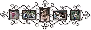 Adeco 5 Openings Decorative Black Metal Filigree Wall Hanging Collage Family Picture Photo Frame - Made to Display Three 4x6 and Two 4x4 Photos