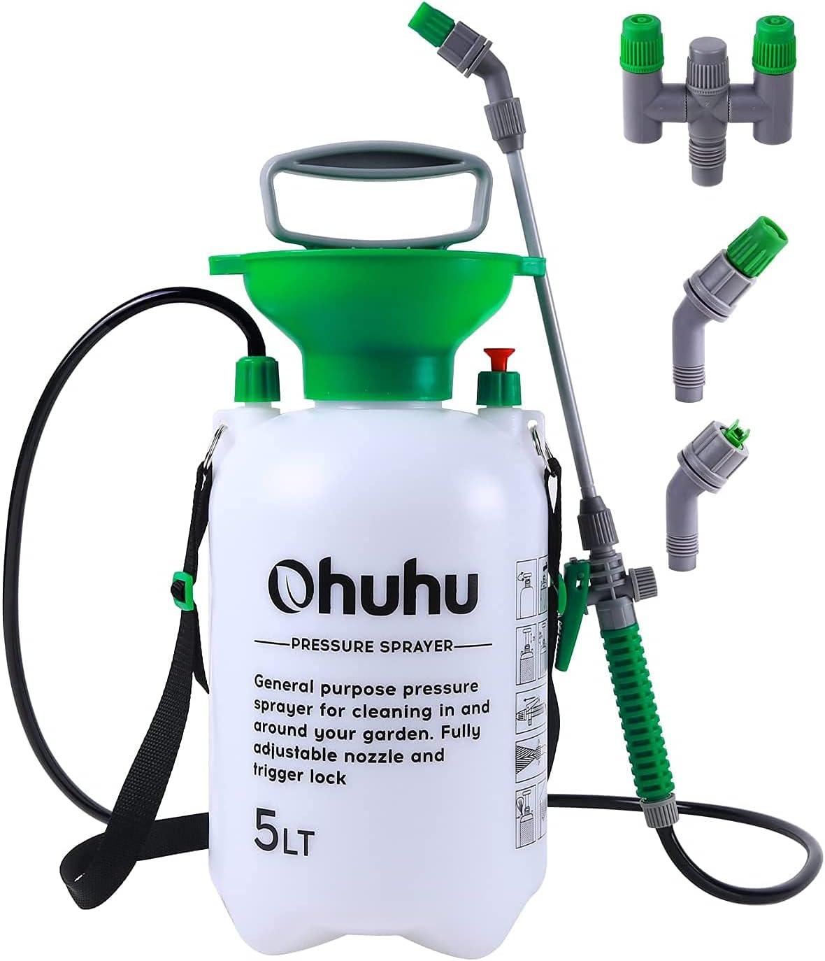 Pump Sprayer, Ohuhu1.3 Gallon/5L Multi-Purpose Lawn & Garden Pressure Sprayer with 2 Different Nozzles, Pressure Relief Valve & Adjustable Shoulder Strap for Fertilizers, Watering Plants, Cleaning