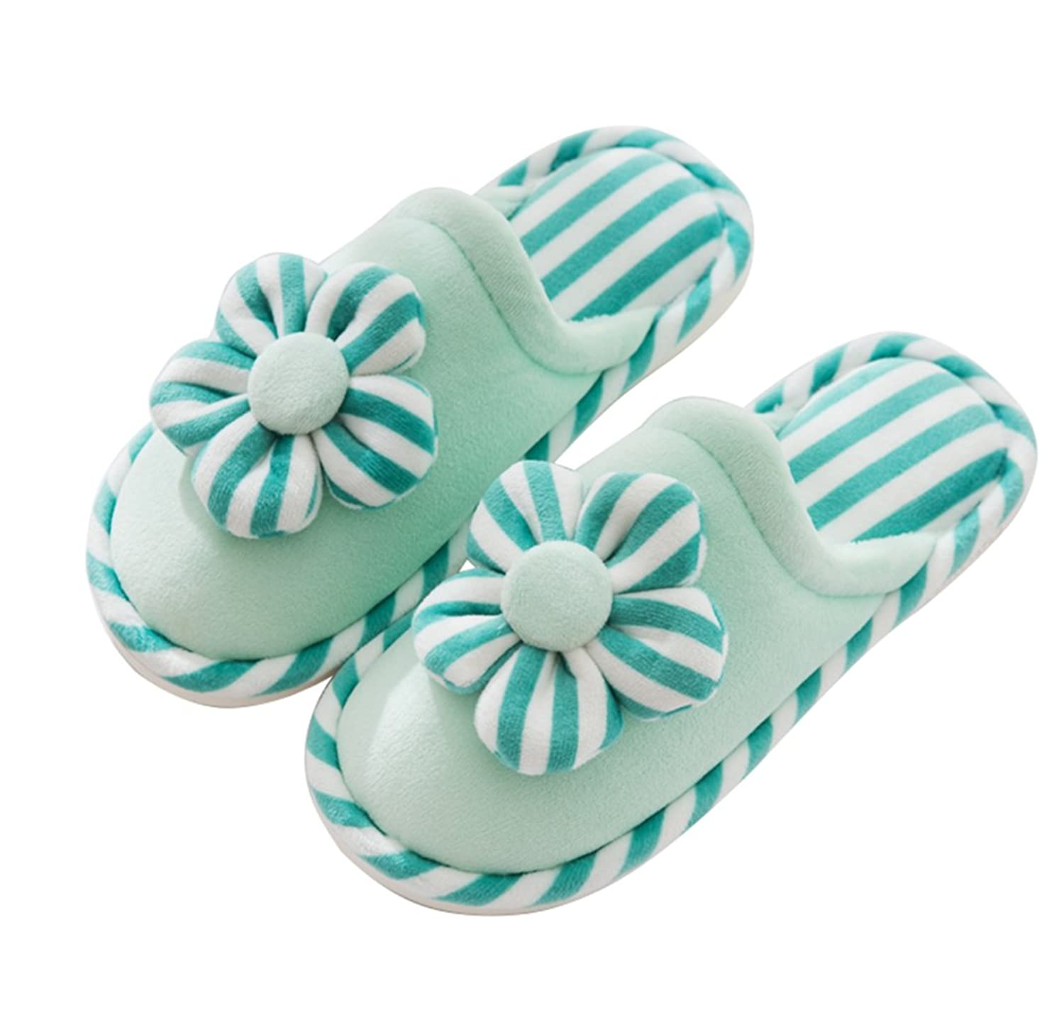 CN'Dragon Women Soft Lovely Striped Flower Plush Slippers Men Button Slippers Couple Cotton Slippers