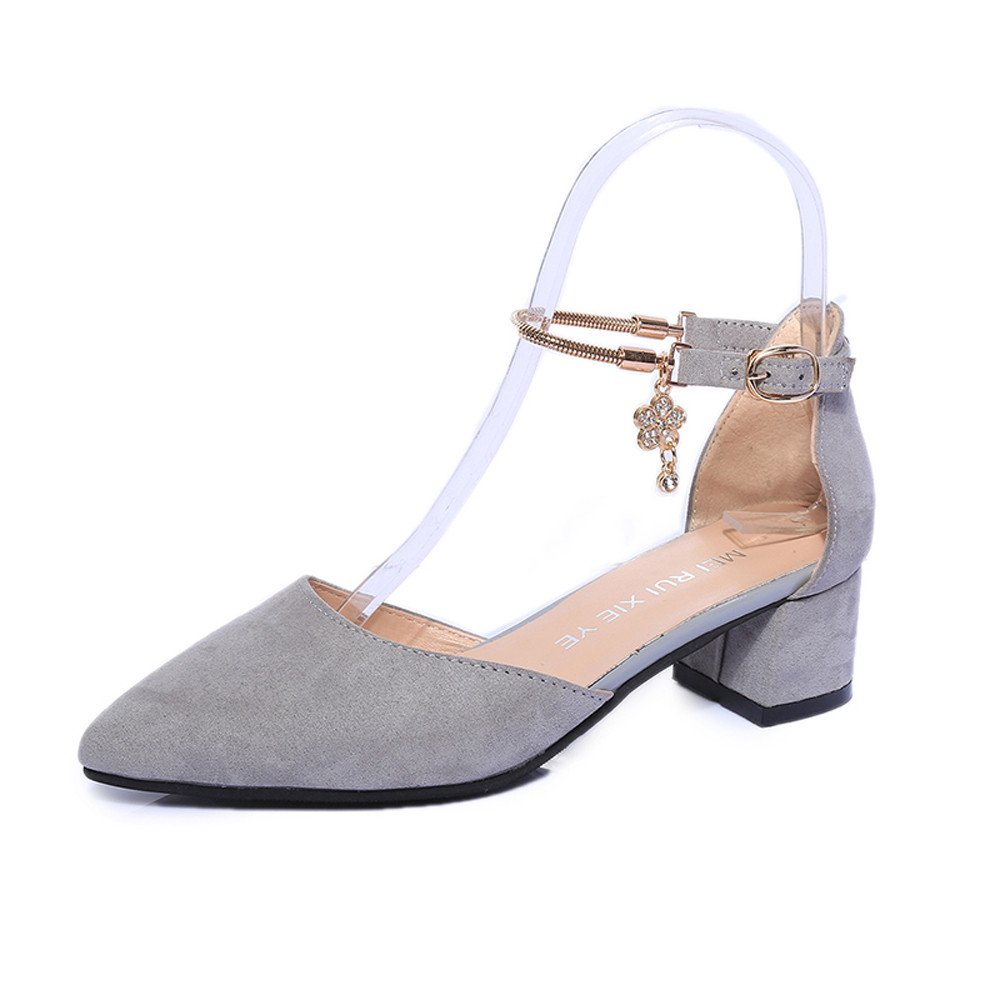 WEUIE Womens Chunky Low Heel Pump Sandals Pointed Toe Ankle Strap Sandals Wedding Party High Heels Shoes