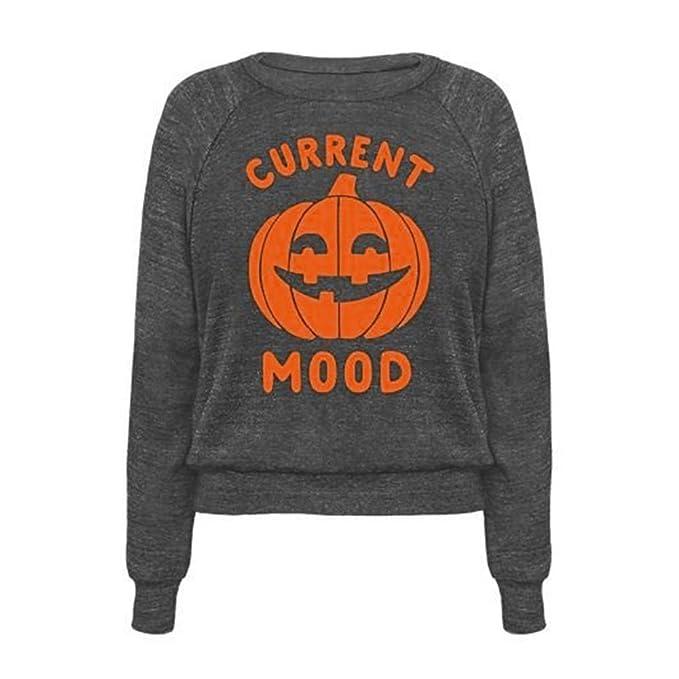 wlgreatsp Mujer Moda Casual Blusa de Halloween Estado de ánimo Actual Impresión de la Calabaza Sudadera