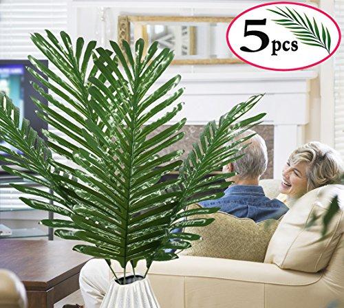 SLanC 5 Pack Palm Artificial Plants Leaves decorations faux large Tropical Palm Leaves Imitation Ferns Artificial Plants Leaf for Home Kitchen Party Flowers Arrangement Wedding Decorations by SLanC